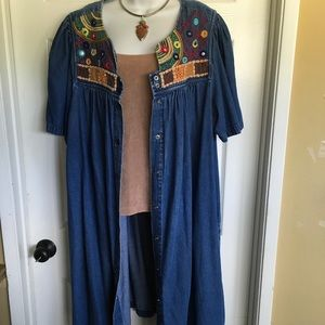 641388e095 GO SOFTLY plus size embroidery duster